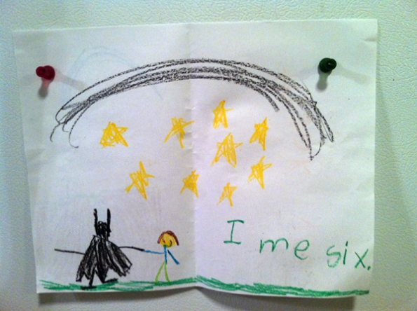 Thank you note from Ayden with a picture of him and Batman.